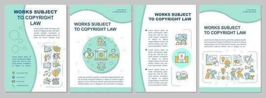 trabalhos sujeitos ao modelo de folheto da lei de direitos autorais vetor