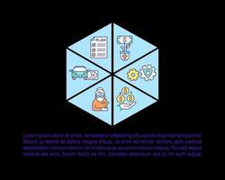 Ícones de linha de conceito de gestão de fortunas com texto vetor