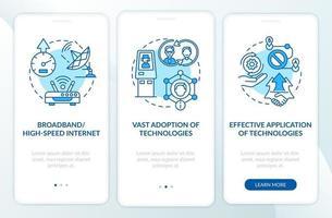 tela azul da página do aplicativo de integração digital bem-sucedida com conceitos vetor