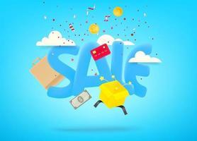 banner de venda com confete e coisas de compras vetor