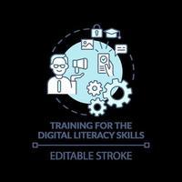 treinamento para o ícone do conceito turquesa de alfabetização digital vetor