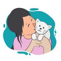 Menina e sua ilustração vetorial de gato vetor