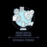 ícone do conceito turquesa on-line seguro e legal vetor
