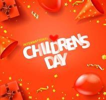 cartão comemorativo do dia internacional da criança com inscrição e acessórios diferentes vetor