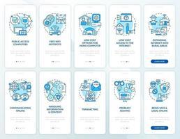 tela azul da página do aplicativo móvel de integração digital com o conjunto de conceitos vetor