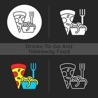 ícone de tema escuro de comida italiana para viagem vetor