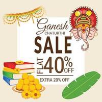 feliz ganesh chaturhi com 40 por cento de desconto vetor