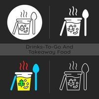 ícone de tema escuro de sopas para viagem vetor