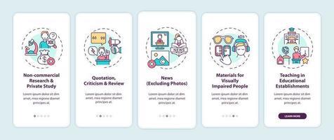 exceções à tela da página do aplicativo móvel de integração de direitos autorais com conceitos vetor