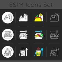 conjunto de ícones de tema escuro para viagem e opção de entrega vetor