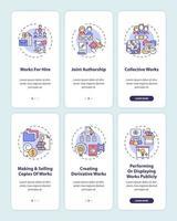 tela de página de aplicativo móvel de proteção de lei de direitos autorais com conjunto de conceitos vetor