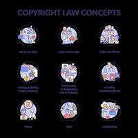 conjunto de ícones de conceito de lei de direitos autorais vetor
