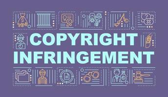 banner de conceitos de palavras de violação de direitos autorais vetor