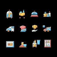 conjunto de ícones de cores rgb de serviços de hotel vetor