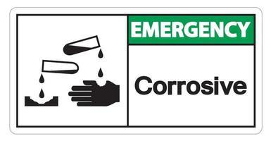 Sinal de símbolo corrosivo de emergência em fundo branco vetor