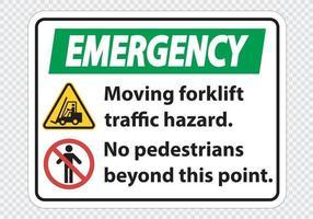 perigo de tráfego de empilhadeira em movimento sem pedestres além deste ponto vetor