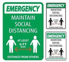 emergência mantenha o distanciamento social de pelo menos 6 pés vetor