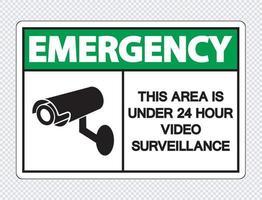 emergência esta área está sob vigilância por vídeo 24 horas vetor