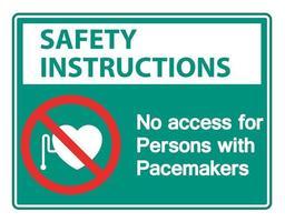 instruções de segurança sem acesso para pessoas com sinal de símbolo de marca-passo em fundo branco vetor