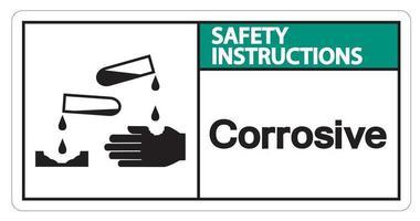 instruções de segurança símbolo corrosivo sinal em fundo branco vetor