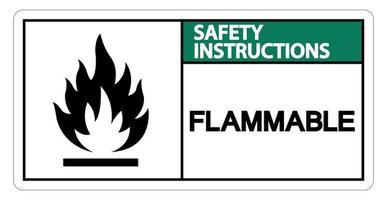 instruções de segurança sinal de símbolo de inflamável em fundo branco vetor