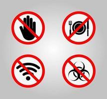 sinais de proibição e vários sinais de alerta vetor