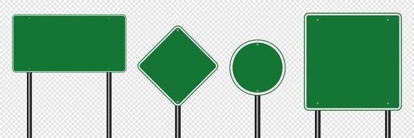 conjunto de símbolos placa verde sinal de estrada em fundo transparente vetor