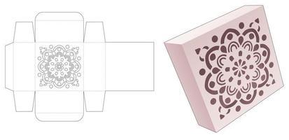 caixa de lata quadrada com molde estampado de mandala estampado vetor