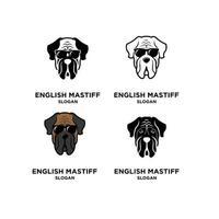 conjunto coleção mastim inglês cabeça de cachorro vetor logotipo ícone ilustração design
