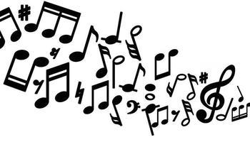 notas musicais em fundo branco vetor