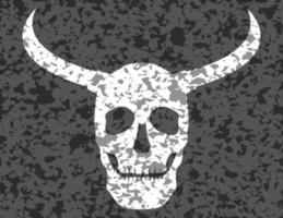 crânio humano com chifres de grunge vetor