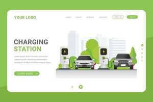 modelo de página de destino estação de carregamento de carro para ilustração vetorial de veículo elétrico vetor