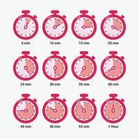 cronômetro de contagem regressiva com ilustração vetorial de intervalo de cinco minutos vetor