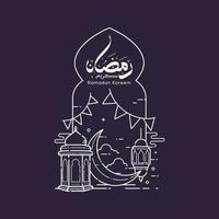 caligrafia árabe ramadan kareem com desenho de arte em linha de mesquita vetor