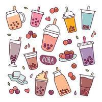 boba bebida doodle ícones vetoriais desenhados à mão vetor