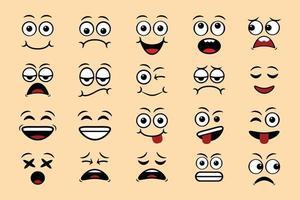 desenhos animados expressões faciais doodle mão desenhada emoticon ilustração vetorial isolada vetor