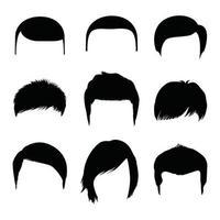penteado masculino de diferentes formas isoladas no fundo branco vetor