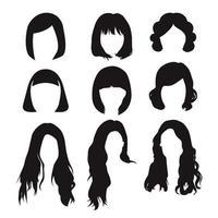 penteado feminino de diferentes formas isoladas no fundo branco vetor