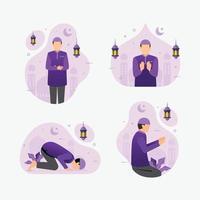 Ilustração em vetor muçulmanos orando em roupas tradicionais