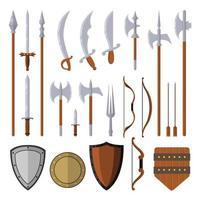 Elementos de cenografia de armas medievais isolados no fundo branco vetor