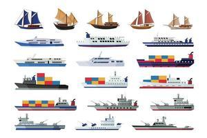conjunto de coleções de navios marítimos, barcos de transporte vetor