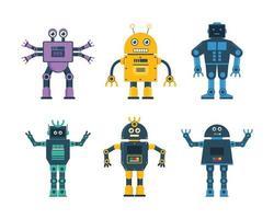 conjunto de brinquedos de robô em vários modelos de robô e ilustração vetorial de roda de robô vetor