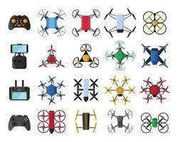 conjunto de drones de ar e drones de controle remoto isolado no fundo branco vetor