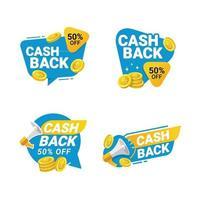 modelo de crachás cashback tags vetoriais para reembolso de dinheiro com moedas vetor
