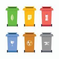 lixeira de plástico, metal, vidro, papel, objetos, resíduos, de, cozinha vetor