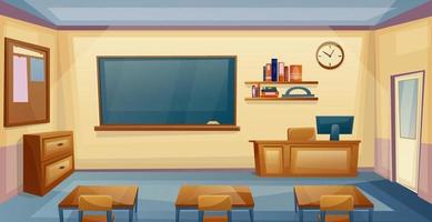 interior da sala de aula escolar com mesa e quadro vetor
