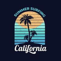 praia da califórnia com palmeira vetor