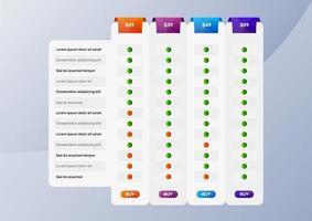 tabela de comparação de preços vetor