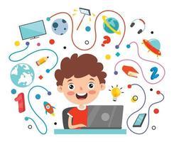 conceito de aprendizagem online com personagem de desenho animado vetor