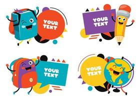 balões de fala e rótulos coloridos vetor
